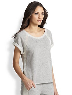 Splendid - Mesh-Trimmed Short-Sleeved Sweatshirt