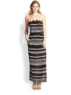 Splendid - Strapless Striped Jersey Maxi Dress