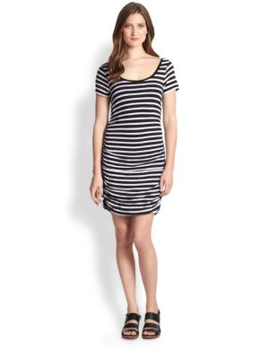 Ruched Striped Jersey Dress