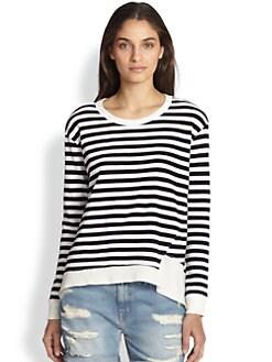 Wilt - Asymmetrical-Hem Striped Cotton Sweatshirt
