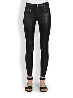 Givenchy - Leather Zipper Leggings
