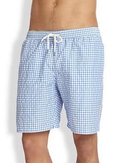Faconnable - Gingham Swim Trunks