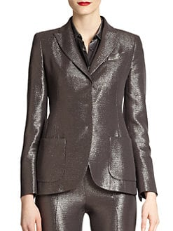 Akris - Metallic Silk & Wool Crepe Lurex Jacket