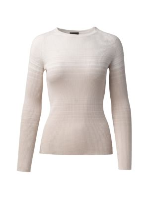 Gradient Striped Ribbed Cashmere & Silk Pullover Sweater