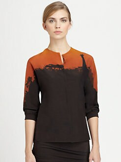 Akris - Giraffe-Print Silk & Wool Blouse