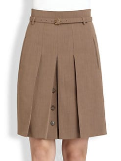 Akris - Belted Pleated Stretch Wool Skirt