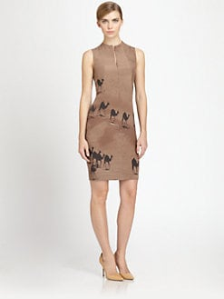 Akris - Silk Crepe Camel-Print Dress