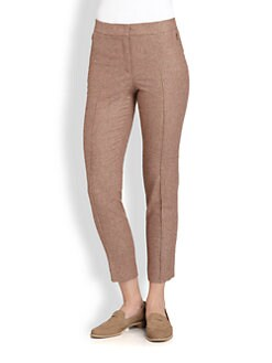 Akris - Plaid Stretch Wool & Angora Cropped Pants