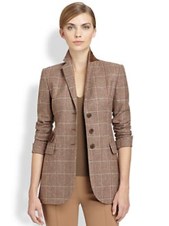 Akris - Suede-Trimmed Plaid Wool-Blend Blazer