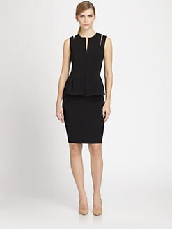 Akris - Concealed Zip-Shoulder Wool Peplum Dress