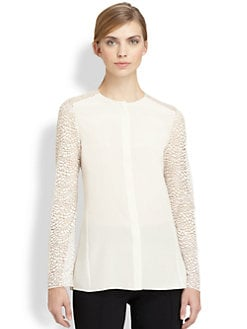 Akris - Silk Animal-Patterned St. Gallen Embroidery Blouse