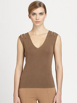 Akris - Cashmere & Silk Zip-Shoulder Top