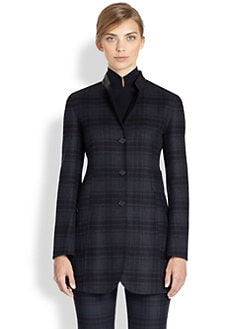 Akris - Leather-Trimmed Plaid Flannel Wool Blazer