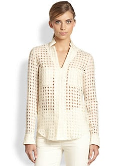 Akris - Cutout Check-Patterned Wool Shirt