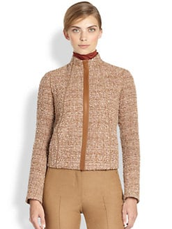 Akris - Leather-Trimmed Bouclé Jacket