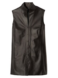Akris - Architecture Collection Nappa Leather Sleeveless Blouse<CRLF>