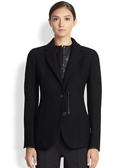 Akris - Leather-Trimmed Cashmere Blazer