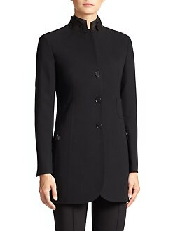 Akris - Architecture Collection Parker Leather-Collar Jacket<CRLF>
