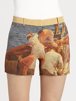 Akris - Silk Prince Albert Print Shorts