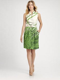 Akris - Belted Reed Print Dress