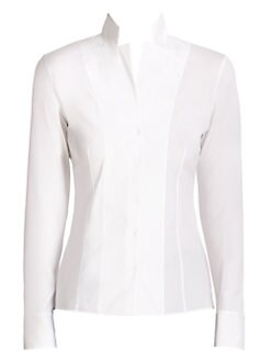 Akris - Architecture Collection Stand-Collar Poplin Blouse<CRLF>