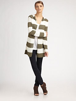 360 Sweater - Hooded Striped Cardigan