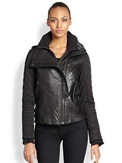 Ashley B - Mixed-Media Biker Jacket
