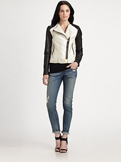 Mackage - Belle Leather & Chevron Jacket