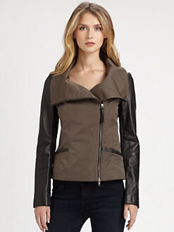 Mackage - Lindsay Poplin & Leather Jacket