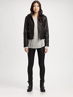 Cole Haan - Removable-Hood Leather Jacket