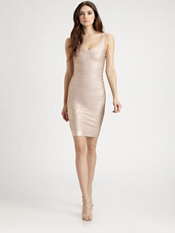 Herve Leger - Foil U-Neck Bandage Dress