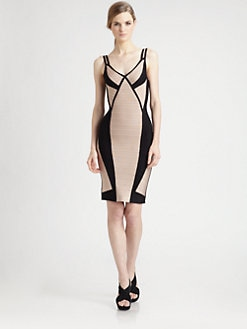 Herve Leger - Colorblock Bandage Dress