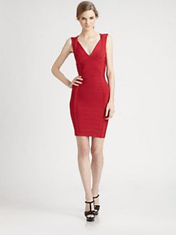 Herve Leger - V-Neck Bandage Dress