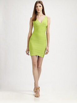 Herve Leger - V-Neck Dress