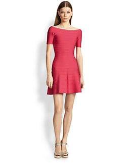 Herve Leger - Off-The-Shoulder A-Line Bandage Dress