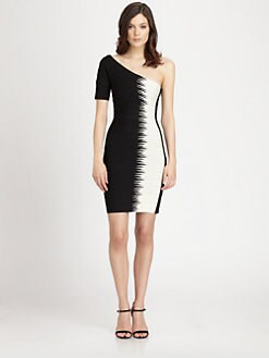 Herve Leger - Zigzag Colorblock One-Shoulder Bandage Dress