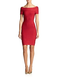 Herve Leger - Off-the-Shoulder Bandage Dress