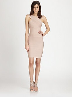 Herve Leger - Crossover-Neck Bandage Dress
