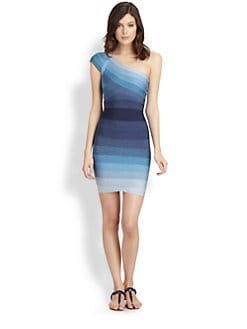 Herve Leger - Ombr&eacute; One-Shoulder Bandage Dress