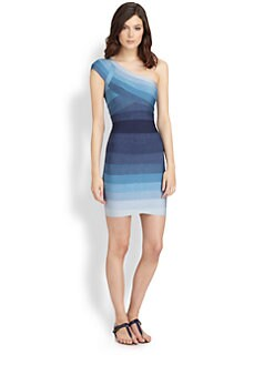 Herve Leger - Ombré One-Shoulder Bandage Dress