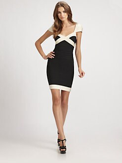 Herve Leger - Two-Tone Bandage Dress
