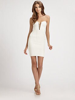 Herve Leger - Strapless Keyhole Bandage Dress