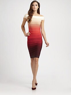 Herve Leger - Off-The-Shoulder Ombré Bandage Dress
