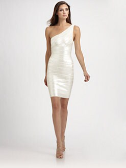 Herve Leger - Asymmetrical Sequined Bandage Dress
