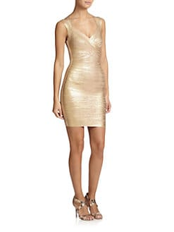 Herve Leger - Metallic Bandage Dress