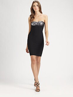 Herve Leger - Sequined Strapless Bandage Dress