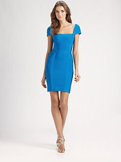 Herve Leger - Square-Neck Bandage Dress