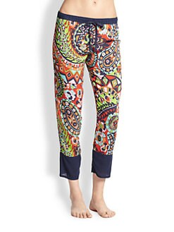 Josie - Hollywood Boho Printed Stretch Jersey Pajama Pants
