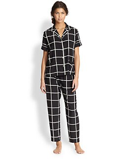 Natori - Windowpane Short Sleeve Pajamas