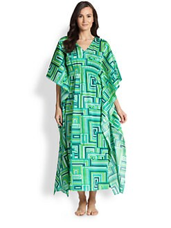 Natori - Cube Printed Cotton Caftan